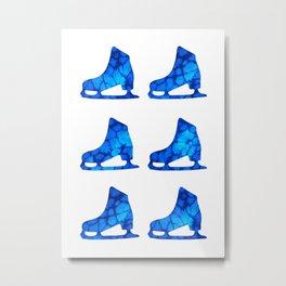 Watercolor Figure Skates (Blue) Metal Print