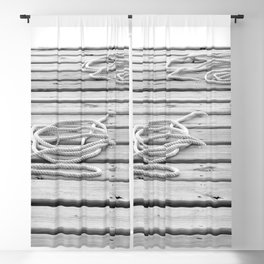 dock, black and white Blackout Curtain