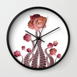 Floral Octopus Tentacles with Roses Wall Clock