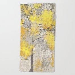 Abstract Yellow and Gray Trees Beach Towel