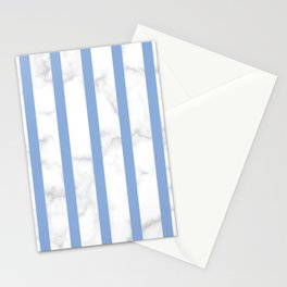 marble vertical stripe pattern blue Stationery Cards