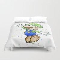 luigi Duvet Covers featuring Luigi Watercolor Art by Olechka