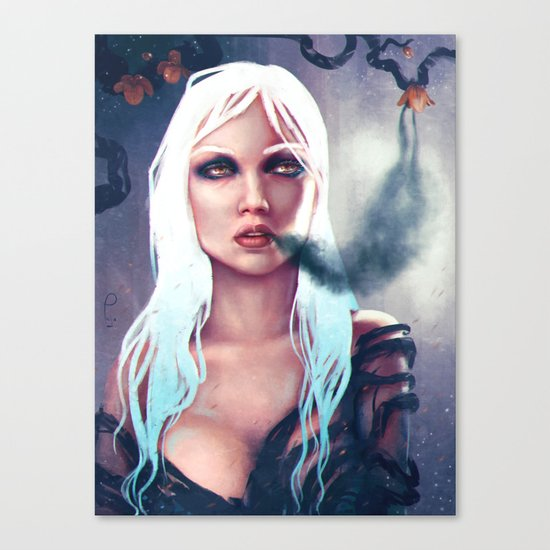 Flowers of the night fantasy digital painting Canvas Print