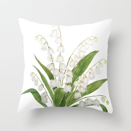white lily of valley Throw Pillow
