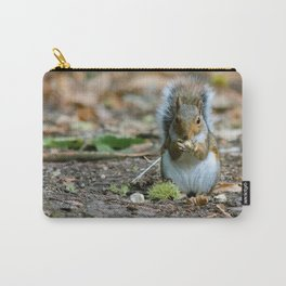 Gray squirrel stood upright eating a nut Carry-All Pouch