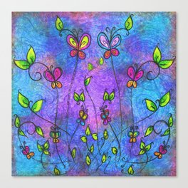butterflies and leaves Canvas Print