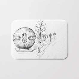 drawing pencil. the city central street, a streetlight on a front background. Bath Mat