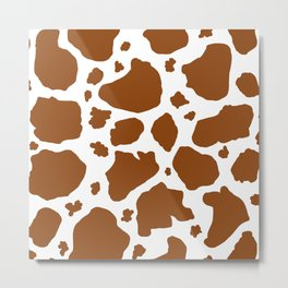 cocoa milk chocolate brown and white cow spots animal print Metal Print