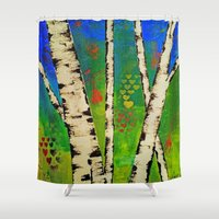 birch Shower Curtains featuring Blue Birch by BeachStudio