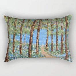 Landscape Trees Art, Impressionism Scenic Lake, Forest Woods Rectangular Pillow