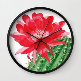 Сactus with red flower Wall Clock