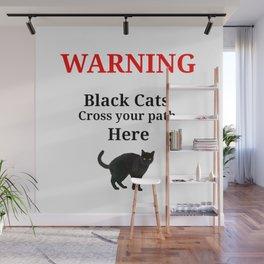 Warning Black Cat Wall Mural