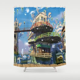 Pretty Urban Buildings And Infrastructure Ultra HD Shower Curtain