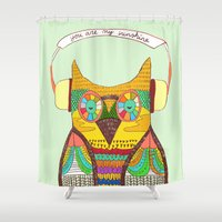 rustic Shower Curtains featuring The Owl rustic song by Picomodi