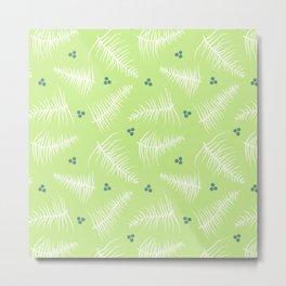 Fronds & Berries on Green Metal Print