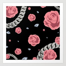 "Rose "" Pink  Black "" Art Print"