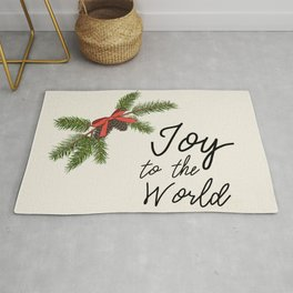 Joy to the World, Christmas/Holiday with Pine Branches, Pine Cones and Berries Rug