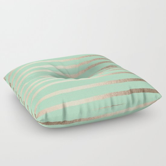 Green Floor Pillows : Stripes Metallic Gold Mint Green Floor Pillow by Simple Luxe Society6