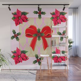 RED RIBBON BOW HOLLY BERRIES CHRISTMAS POINSETTIAS Wall Mural