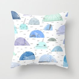 Whale party Throw Pillow
