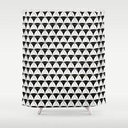 Cone Pattern Black-White Shower Curtain