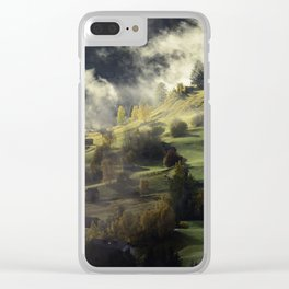 Mountain Village Swept in Fog Clear iPhone Case