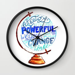Nelson Mandela Education Quote - Hand Lettering Vintage Globe Wall Clock