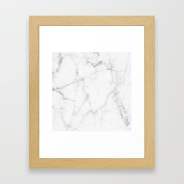 Pure Solid White Marble Stone All Over Framed Art Print