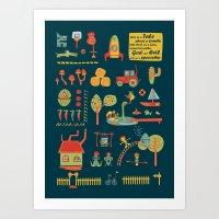 farm Art Prints featuring farm by blablasah