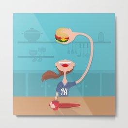 happy girl eating burger Metal Print