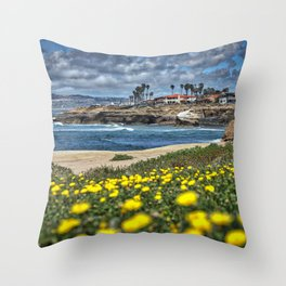 Daisies, Sunset Cliffs, San Diego Throw Pillow