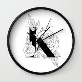 Monogram Letter K with Rose Line Art Wall Clock