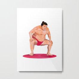 Japanese Sumo Wrestler Squat Low Polygon Metal Print