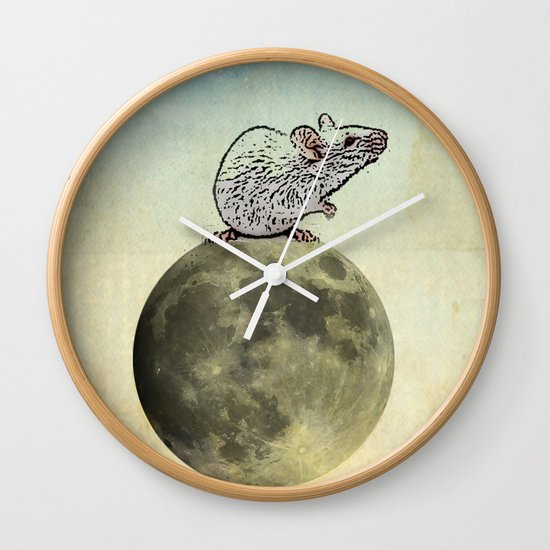 Tiny and the Cheese Moon Wall Clock