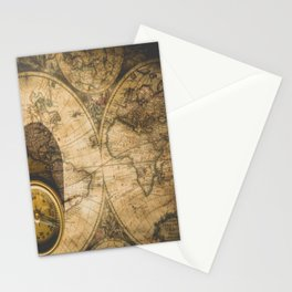 old nautical map with compass Stationery Cards