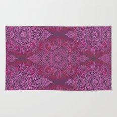 Magenta, Pink & Coral Protea Doodle Pattern Rug