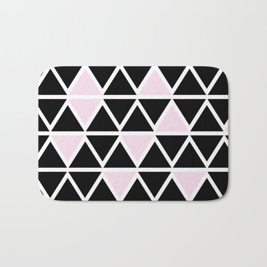 Abstract geometric triangle pattern- pink-black Bath Mat