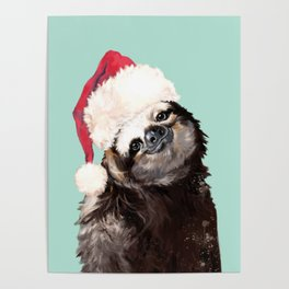 Christmas Sloth in Green Poster