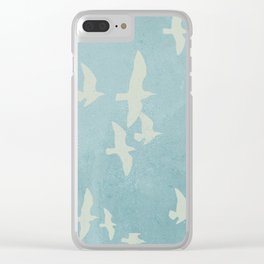 Birds on Blue - flying seagulls Clear iPhone Case