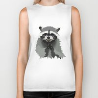 racoon Biker Tanks featuring Diabolical Racoon by Elise Cayouette