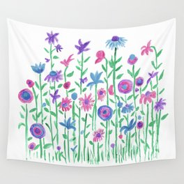 Cheerful spring flowers watercolor Wall Tapestry