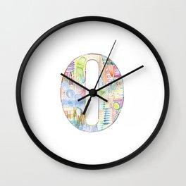 Letter O - Watercolor Monogram - Colorful Lettering - Watercolor Letter Print - Watercolor Initial Wall Clock