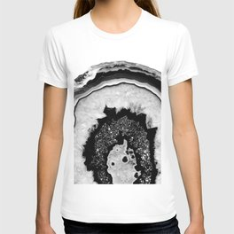 Gray Black White Agate with Black Silver Glitter #2 #gem #decor #art #society6 T-shirt