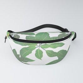 Elegant tropical Green leaves White design Fanny Pack