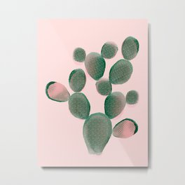 Watercolored Cactus on Pink Metal Print