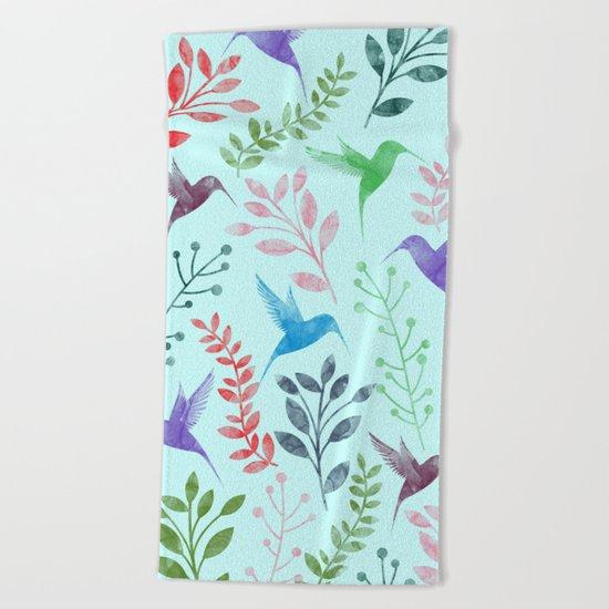 Watercolor Floral & Birds III Beach Towel
