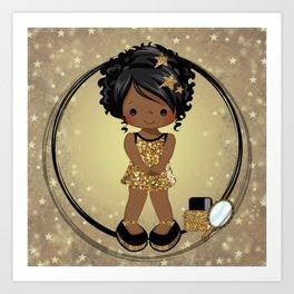 Sparkle | Black Girl Star | Black Girl Art| African-American Art Art Print