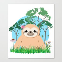 Cute Brown three toed Sloth Canvas Print