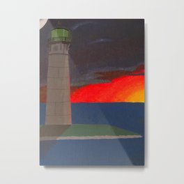 A Lighthouse Sunset Metal Print