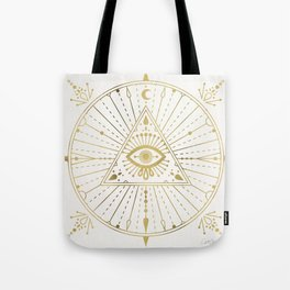 All-Seeing Eye Mandala – Gold Palette Tote Bag
